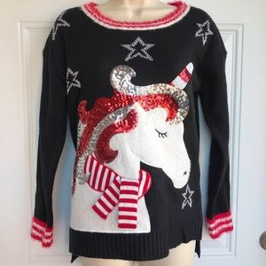 33 Degrees Holiday Sequin Unicorn Sweater NWT